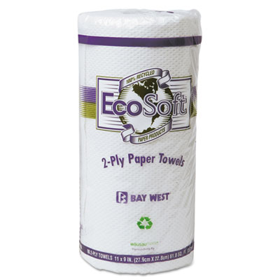 EcoSoft Household Roll Towel, White, 11 x 9, 90/Roll, 30 Rolls/C