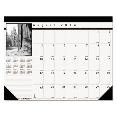 Black-on-White Academic Desk Pad Calendar, 22 x 17, 2014-2015