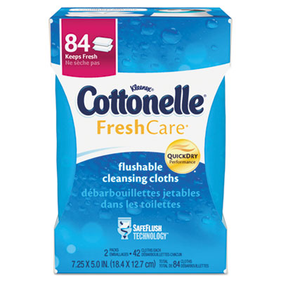 Fresh Care Flushable Cleansing Cloths, White, 3.73 x 5.5, 84/Pac