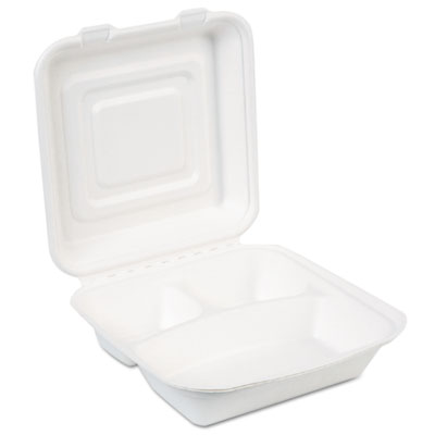 EcoSmart Molded Fiber Food Containers, 9.37 x 9.37, White, 250/C