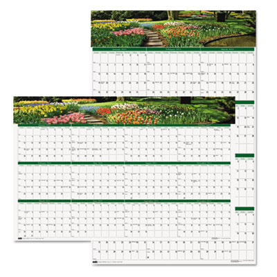 Gardens of the World Reversible/Erasable Wall Calendar, 24 x 37,