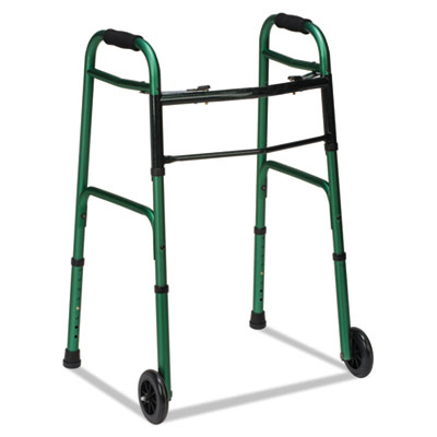 2-Button Release Folding Walker w/Wheels, Green/Green Ice, Alumi
