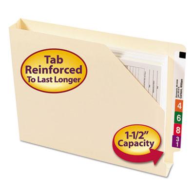 End Tab Jackets w/Reinforced Tabs, Letter, 14pt Manila, 50/Box<br />91-SMD-75740