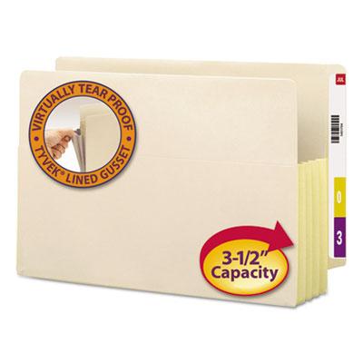 "3 1/2"" Exp Straight Tab File Pockets w/Tyvek, Legal, Manila, 10/Bx<br />91-SMD-76164"