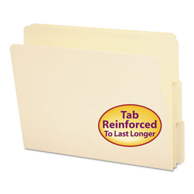 Folders, 1/3 Cut Assorted, Reinforced End Tab, Letter, Manila, 100/Box<br />91-SMD-24134