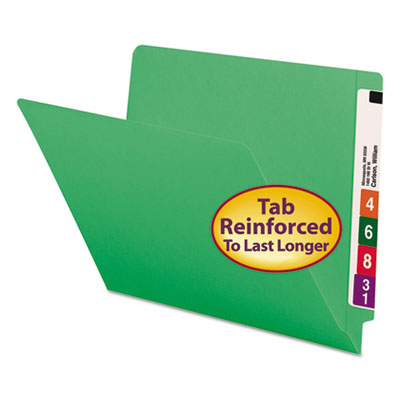 Colored File Folders, Straight Cut, Reinforced End Tab, Letter, Green, 100/Box<br />91-SMD-25110