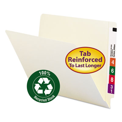 100% Recycled End Tab Folders, Reinforced Tab, Letter Size, Mani