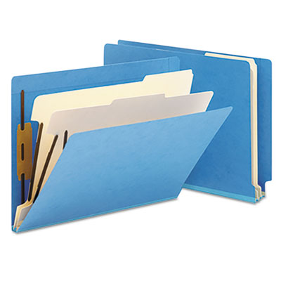 Colored End Tab Classification Folders, Letter, Six-Section, Blu