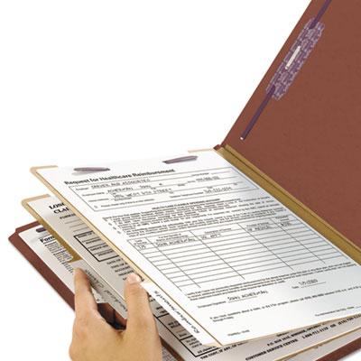 Pressboard End Tab Classification Folder, Letter, Six-Section, Red, 10/Box