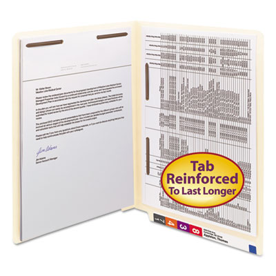 Manila Folders, Fastener Front/Spine, End Tab, Letter, 11 Pt Manila, 50/Box<br />91-SMD-34120