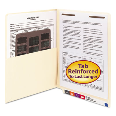 Reinforced End Tab Pocket Folder, Fastener, Straight Cut, Letter, Manila, 50/Box<br />91-SMD-34100