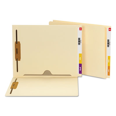 Reinforced End Tab Pocket Folder, Two Fasteners, Letter, Manila, 50/Box<br />91-SMD-34101