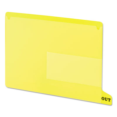 End Tab Out Guides with Pockets, Poly, Letter, Yellow, 25/Box