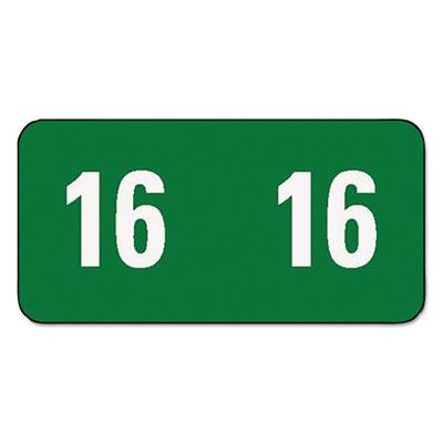 Year 2015 End Tab Folder Labels, 1/2 x 1, Green/Green, 250 Label