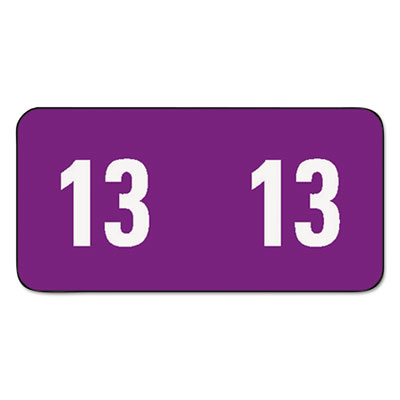 Year 2013 End Tab Folder Labels, 1/2 x 1, Purple/White, 250 Labe