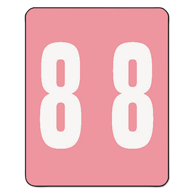 AM100RN Color-Coded Labels, Number 8, 1-1/2w x 1 -7/8h, Pink, 25