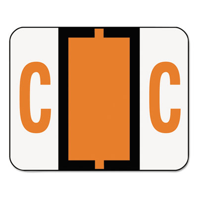 A-Z Color-Coded Bar-Style End Tab Labels, Letter C, Dark Orange,