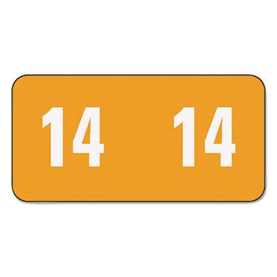 Year 2014 End Tab Folder Labels, 1/2 x 1, Orange/White, 250 Labe