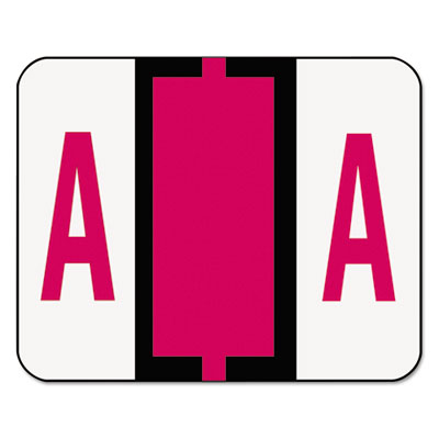 A-Z Color-Coded Bar-Style End Tab Labels, Letter A, Red, 500/Rol