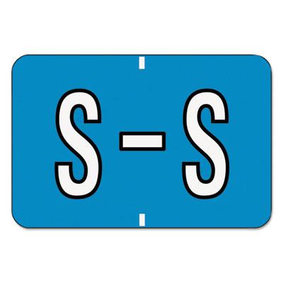 Barkley-Compatible Labels, Letter S, 1 x 1-1/2, Blue/White Bar,