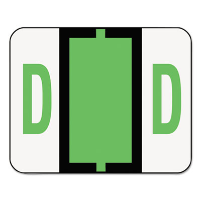 A-Z Color-Coded Bar-Style End Tab Labels, Letter D, Light Green,