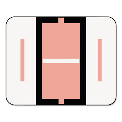 A-Z Color-Coded Bar-Style End Tab Labels, Letter I, Pink, 500/Ro