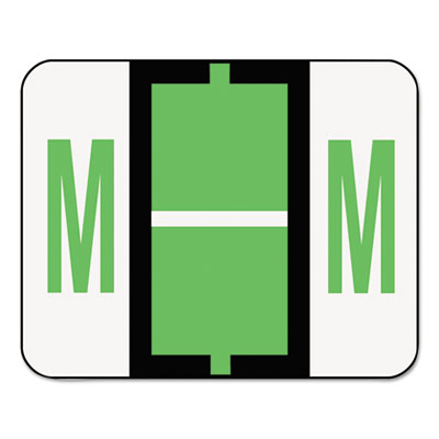 A-Z Color-Coded Bar-Style End Tab Labels, Letter M, Light Green,