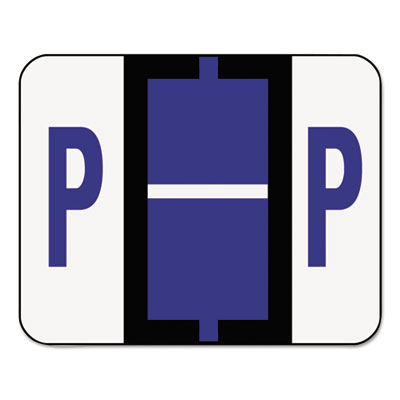 A-Z Color-Coded Bar-Style End Tab Labels, Letter P, Violet, 500/