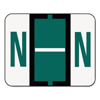 A-Z Color-Coded Bar-Style End Tab Labels, Letter N, Dark Green,