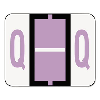A-Z Color-Coded Bar-Style End Tab Labels, Letter Q, Lavender, 50