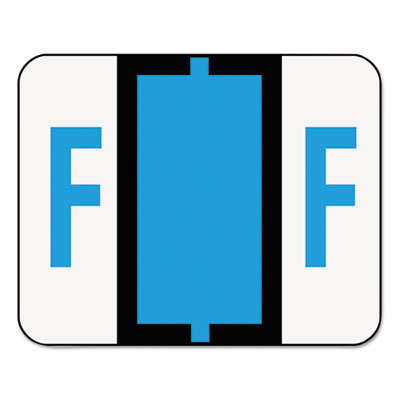 A-Z Color-Coded Bar-Style End Tab Labels, Letter F, Blue, 500/Ro