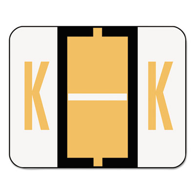 A-Z Color-Coded Bar-Style End Tab Labels, Letter K, Light Orange