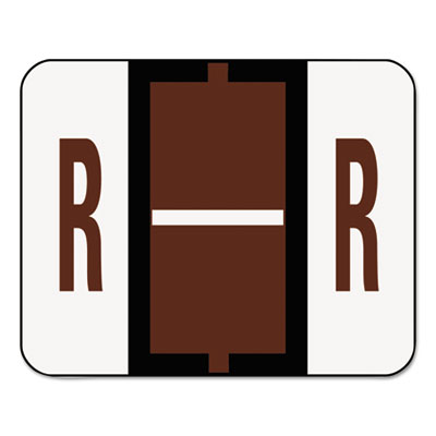 A-Z Color-Coded Bar-Style End Tab Labels, Letter R, Brown, 500/R