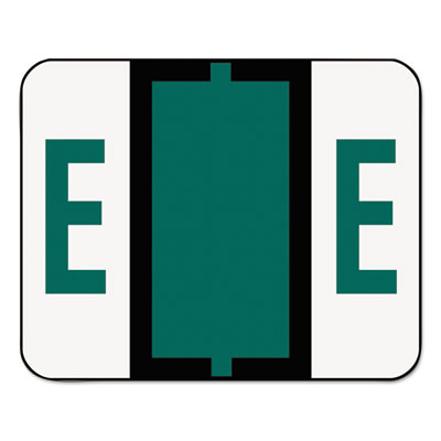 A-Z Color-Coded Bar-Style End Tab Labels, Letter E, Dark Green,