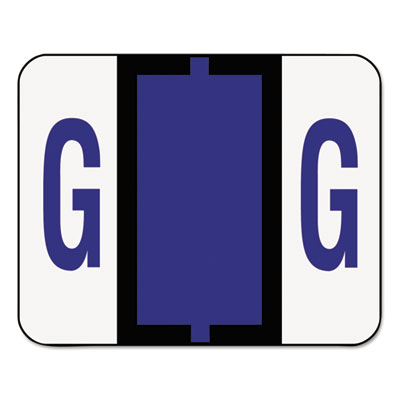 A-Z Color-Coded Bar-Style End Tab Labels, Letter G, Violet, 500/