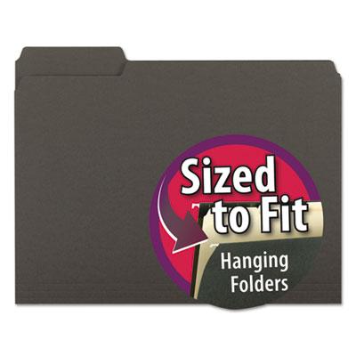 Interior File Folders, 1/3 Cut Top Tab, Letter, Black, 100/Box<br />91-SMD-10243