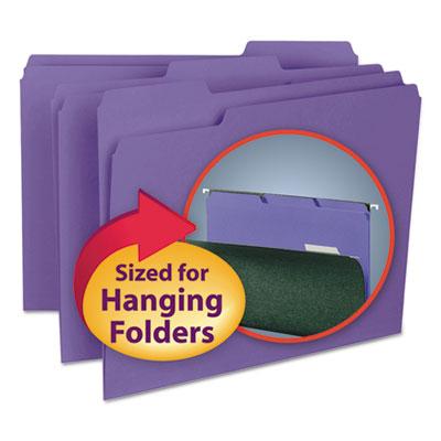 Interior File Folders, 1/3 Cut Top Tab, Letter, Purple, 100/Box<br />91-SMD-10283