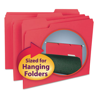 Interior File Folders, 1/3 Cut Top Tab, Letter, Red, 100/Box<br />91-SMD-10267