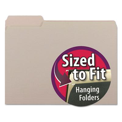 Interior File Folders, 1/3 Cut Top Tab, Letter, Gray, 100/Box<br />91-SMD-10251