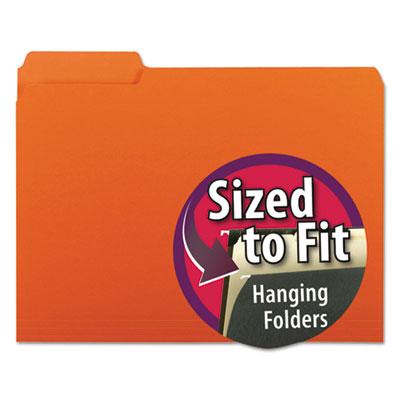 Interior File Folders, 1/3 Cut Top Tab, Letter, Orange, 100/Box<br />91-SMD-10259