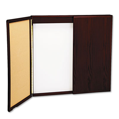 Wood Conference Room Cabinet, Dry Erase/Cork Boards, 48 x 5 x 48
