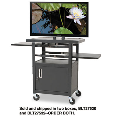 Height-Adjustable TV Cart, Four-Shelf, 24w x 18d x 62h, Black (B