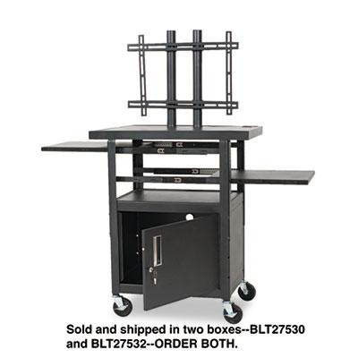 Height-Adjustable TV Cart, Four-Shelf, 24w x 18d x 62h, Black (B