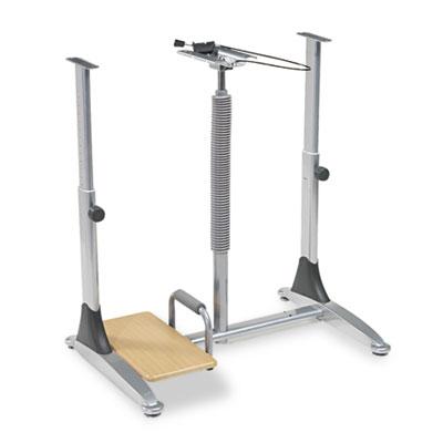 Ergo Sit/Stand Workstation, 41w x 29d x 29-39h, Teak/Silver Top