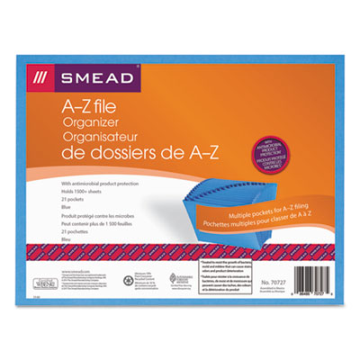 Antimicrobial A-Z Expanding File, 21 Pockets, Letter, Blue<br />91-SMD-70727