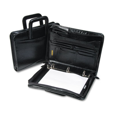 "Leather Multi-Ring Zippered Portfolio, 1-1/2"" Capacity, 14-1/4 x"