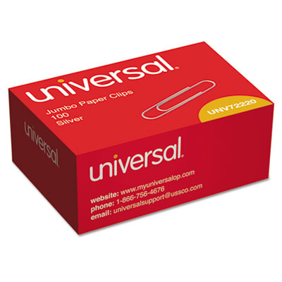 Smooth Paper Clips, Wire, Jumbo, Silver, 1000/Pack<br />91-UNV-72220