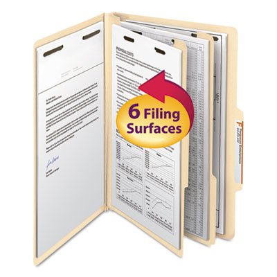Manila Classification Folders with 2/5 Right Tab, Legal, Six-Section, 10/Box<br />91-SMD-19000