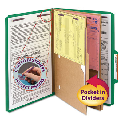 Pressboard Folders with Two Pocket Dividers, Legal, Six-Section, Green, 10/Box<br />91-SMD-19083