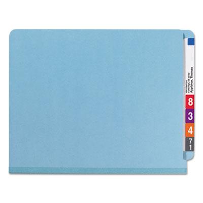 Pressboard End Tab Classification Folders, Letter, Six-Section, Blue, 10/Box